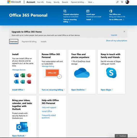 Microsoft Account Home
