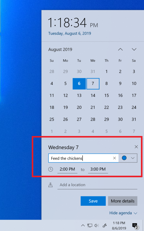 Calendar app Windows 10 version 1909
