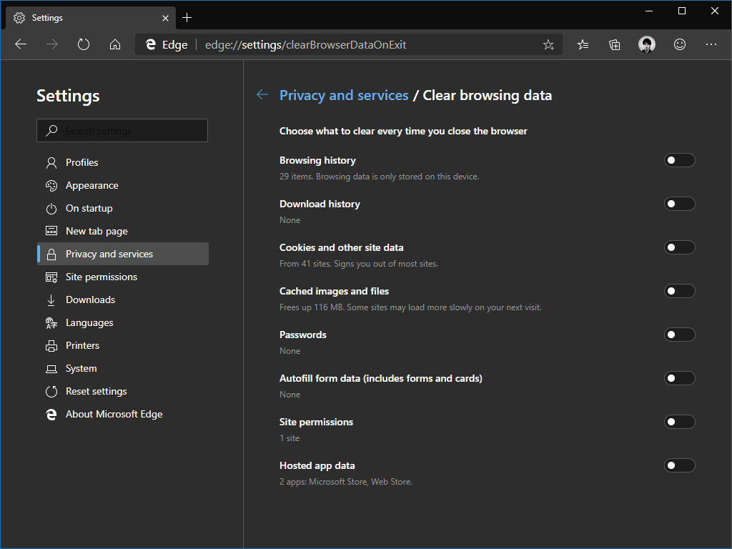 Clearing browser data in Edge Insider
