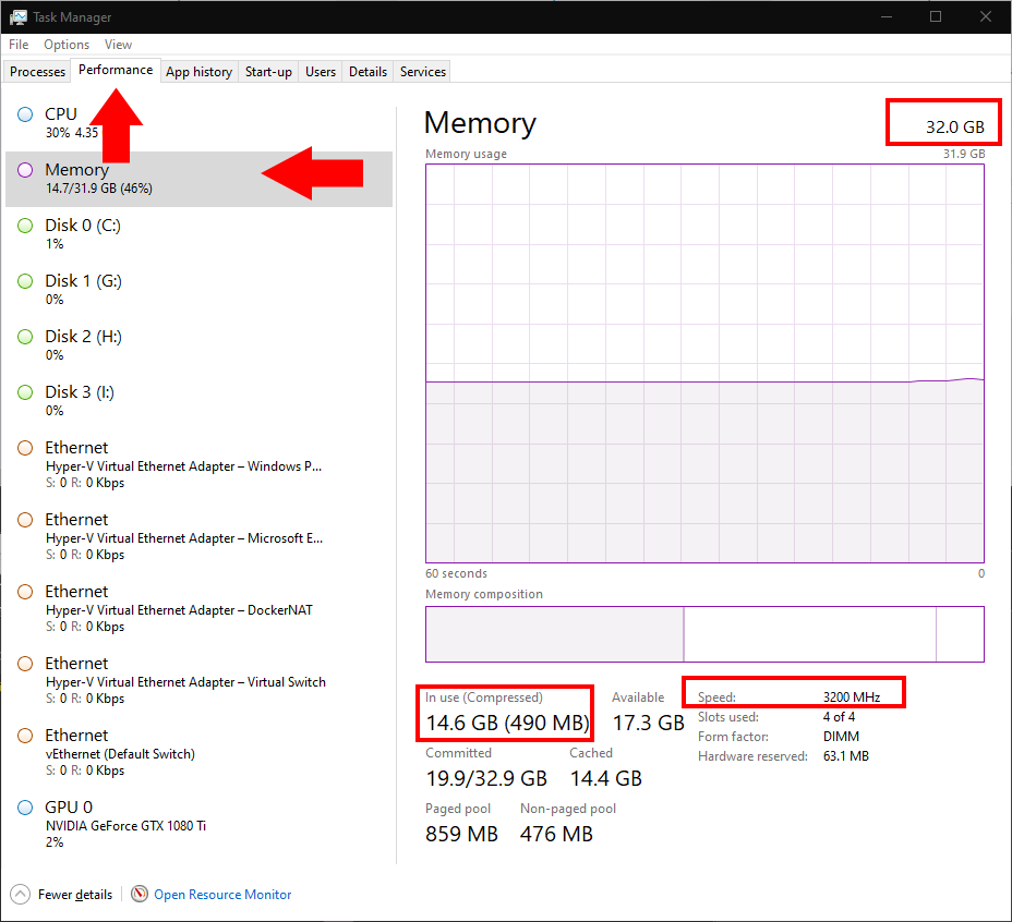 Memory details in Task Manager