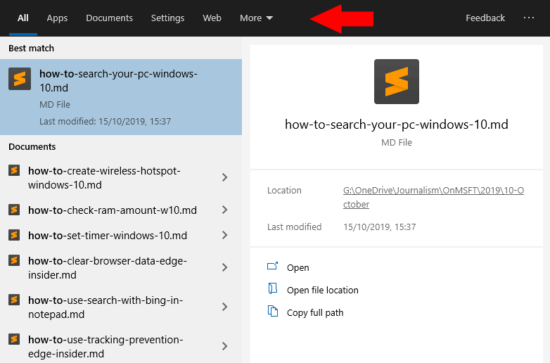 Searching in Windows 10