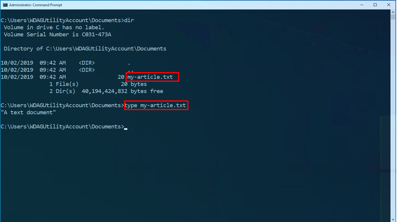 Screenshot of file management using Command Prompt