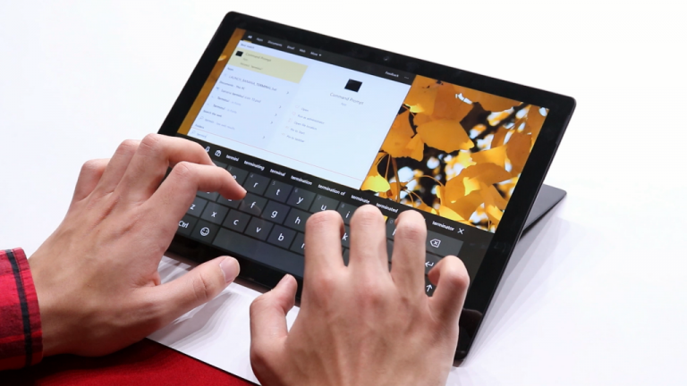 Typing on the Surface pro 7 touch keyboard