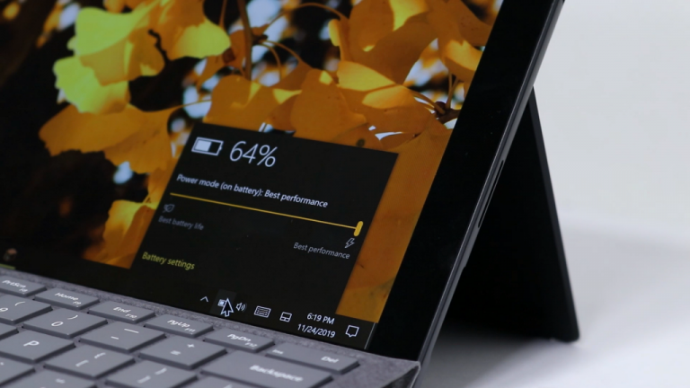Surface Pro 7 battery taskbar flyout