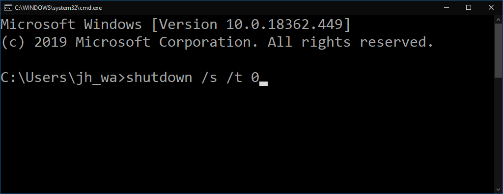 Shutdown command in Windows 10