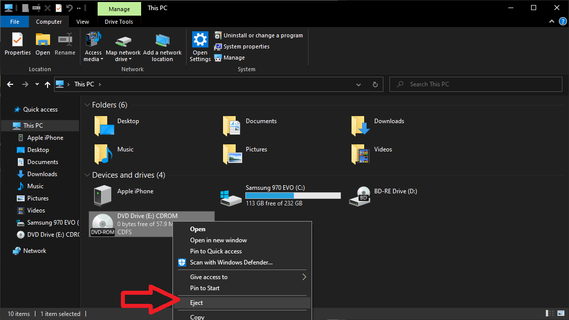 Mounting ISO file in Windows 10