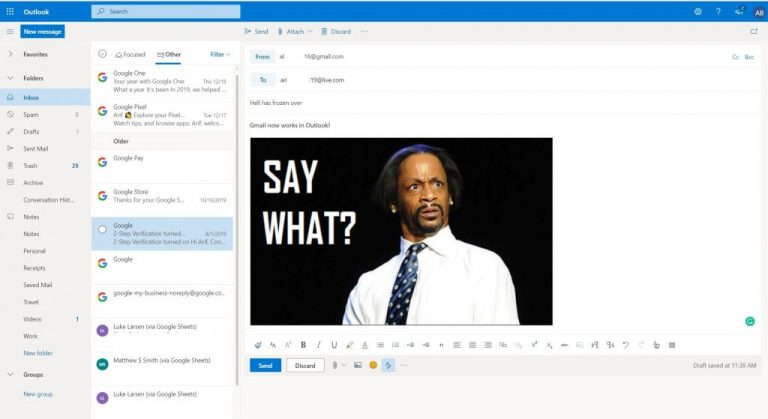 Hands-on with the new Gmail and Google Drive integration in Outlook.com OnMSFT.com January 4, 2020