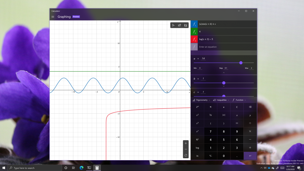 Hands-on with graphing calculator in windows 10 insider preview build 19546 (video) - onmsft. Com - january 20, 2020