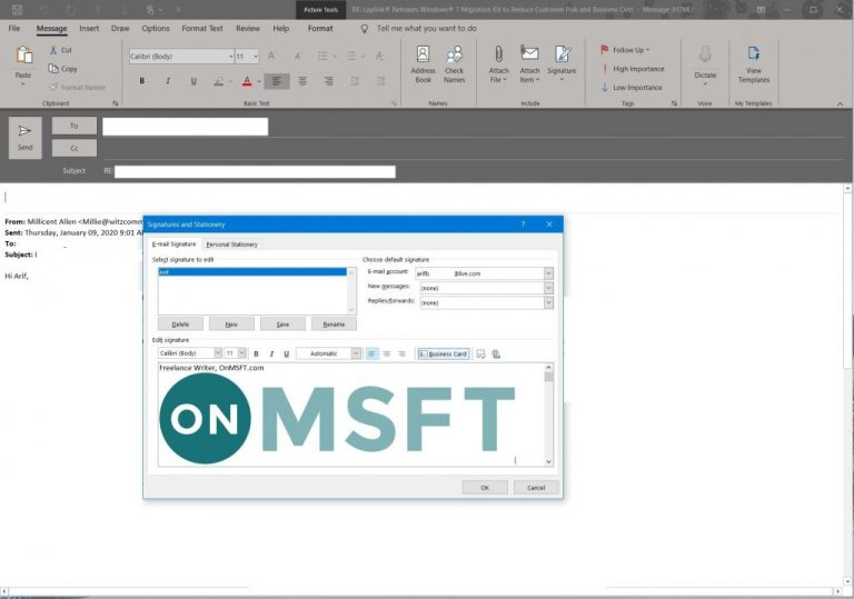 How to create and add a signature to emails in outlook - onmsft. Com - january 9, 2020