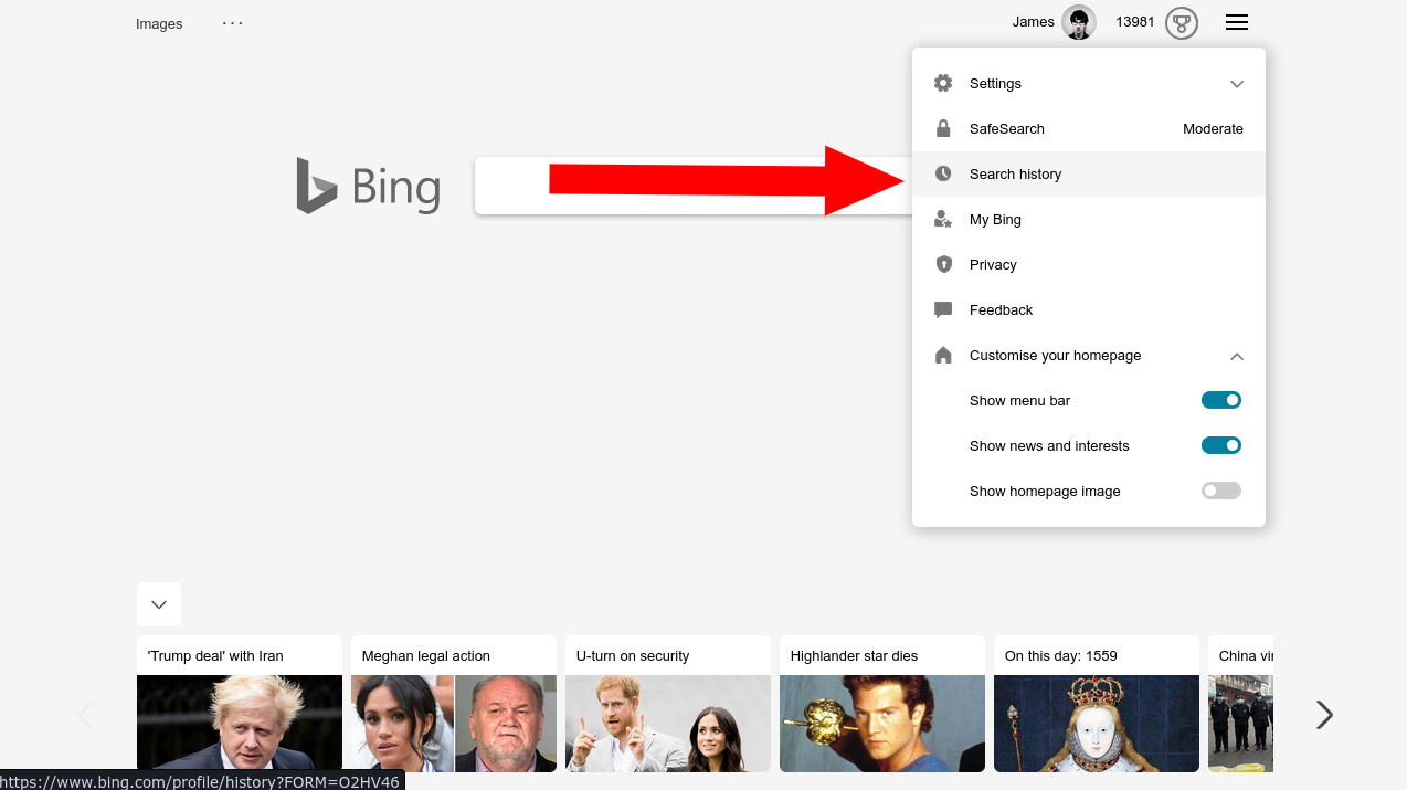 Search history in Bing's menu