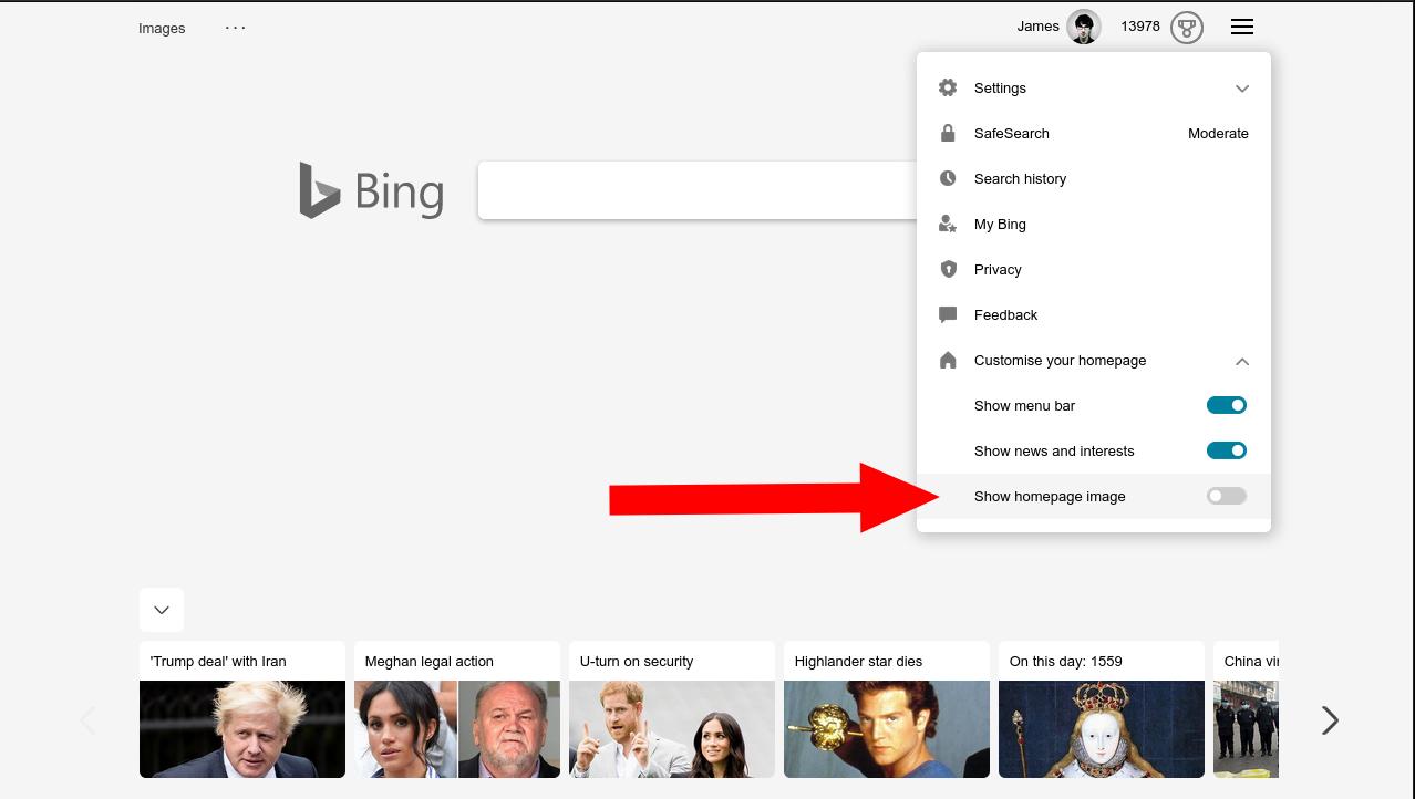 Screenshot of disabling Bing homepage image