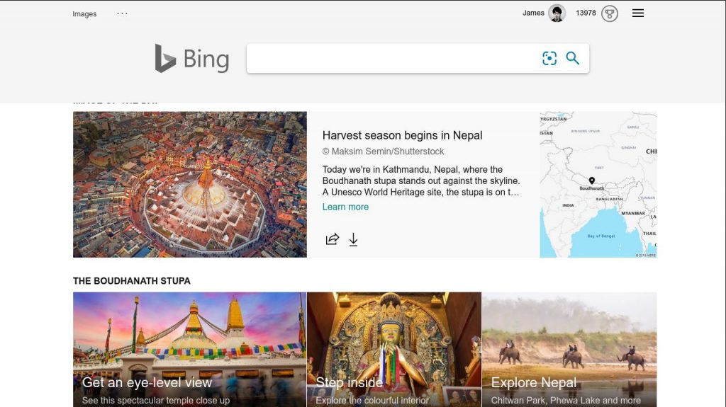 photo of the day information on Bing homepage