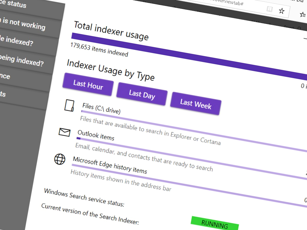 Indexer Diagnostics Windows 10 app