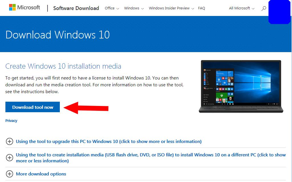 Download Windows 10 webpage screenshot