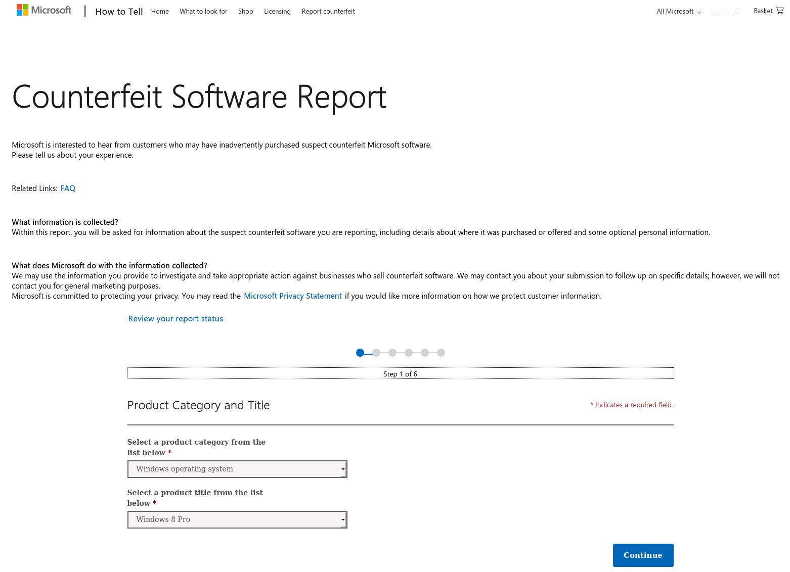 Microsoft Counterfeit Software Report form
