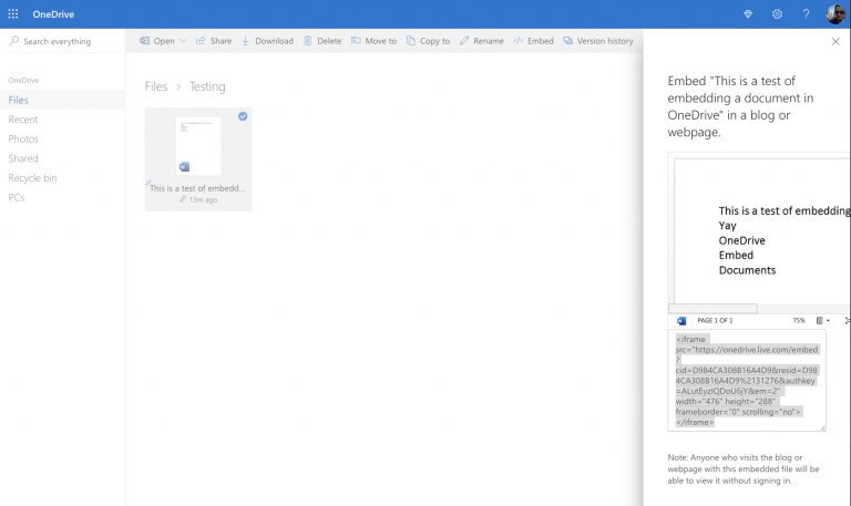 How to embed office 365 documents on a website - onmsft. Com - february 25, 2020