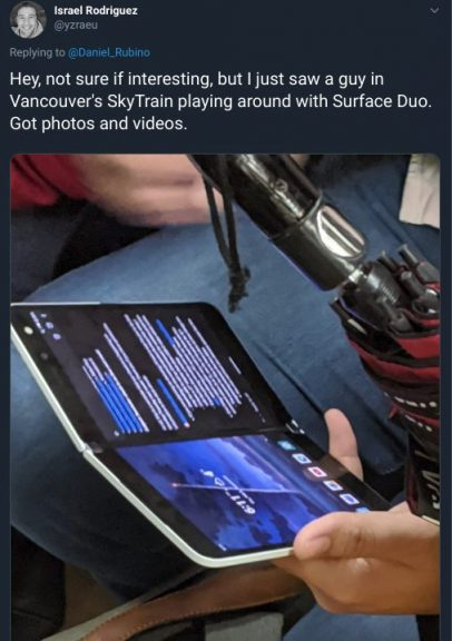 The surface duo has been spotted out in the public and could launch sooner than expected - onmsft. Com - february 6, 2020