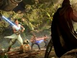 Rey, BB-8, Finn, and Kylo Ren in Star Wars Battlefront II video game on Xbox One and Windows PC