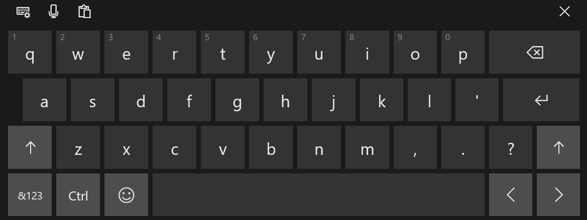 Touch keyboard in Windows 10