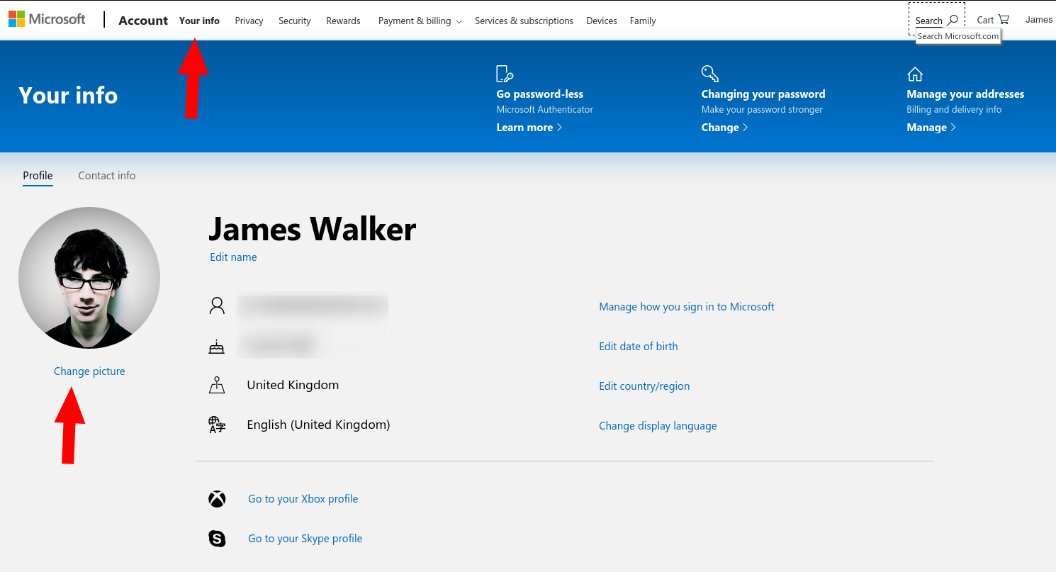 Changing Microsoft account profile picture