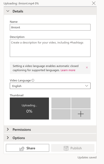 Screenshot of sharing videos using Microsoft Stream