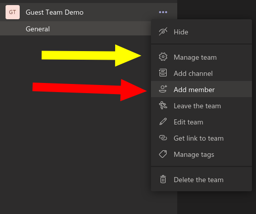 Screenshot of team options menu in Microsoft Teams