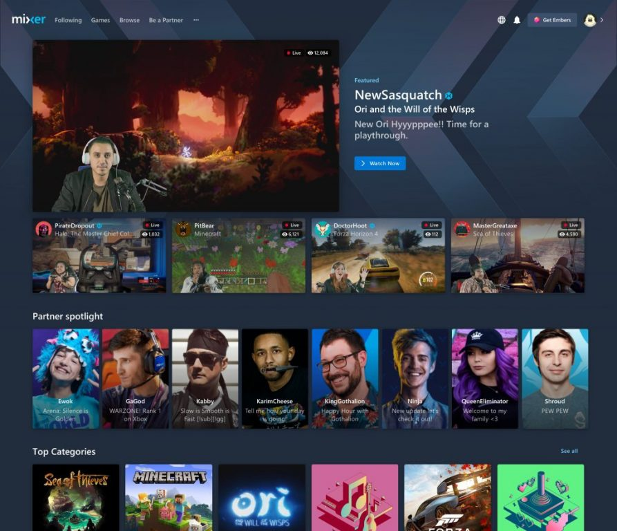 Mixer starts rolling out new homepage, ad breaks for partners, more - onmsft. Com - march 17, 2020