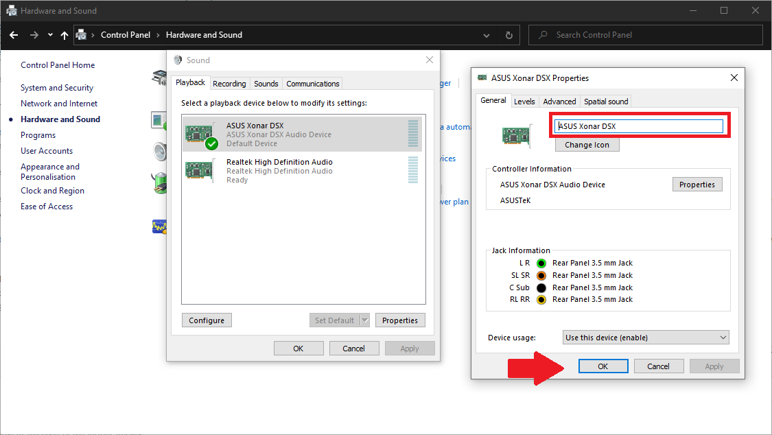 Screenshot of managing audio playback devices in Windows 10