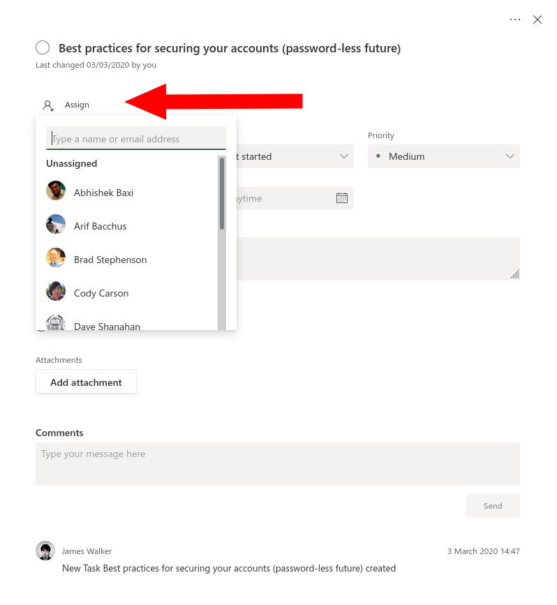 Screenshot of assignees in Microsoft Planner