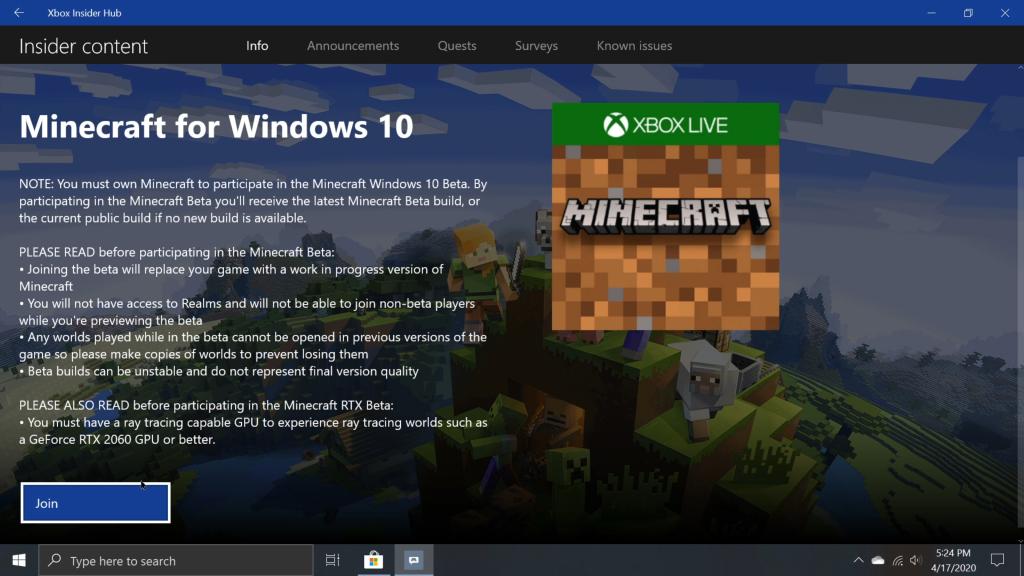 Minecraft for Windows 10 Beta
