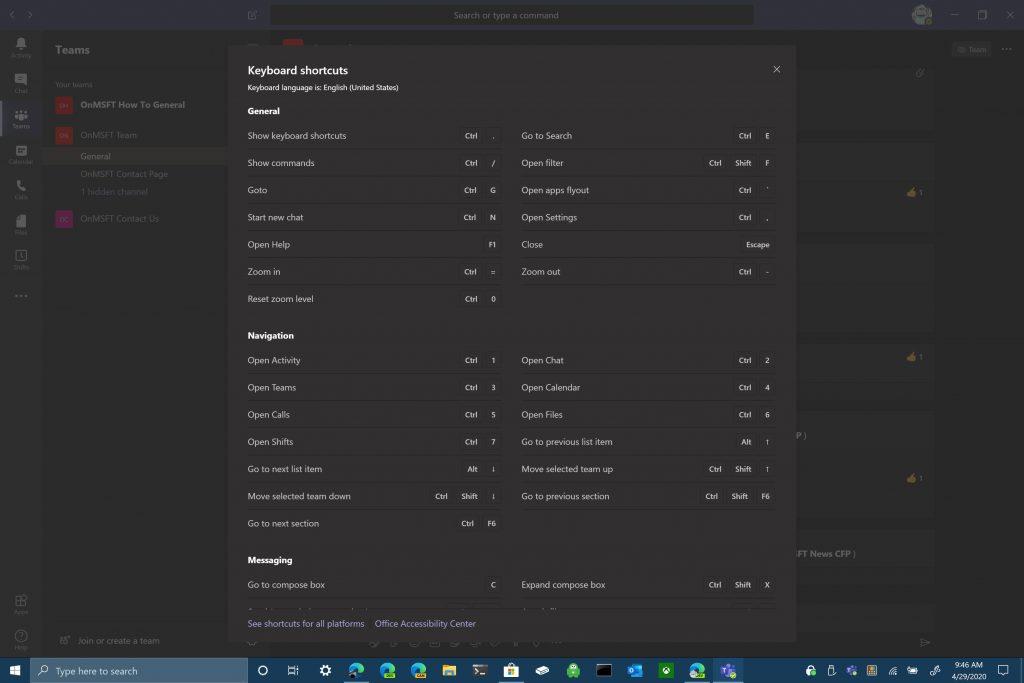 Microsoft, Microsoft Teams, Keyboard Shortcuts