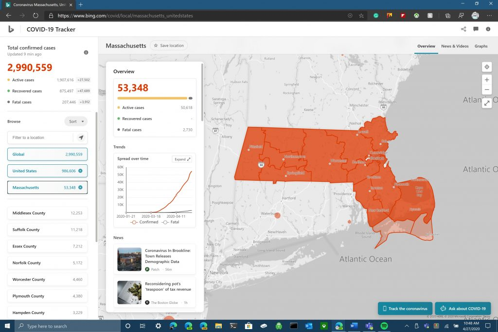 Bing has the best coronavirus tracker, mashable says - onmsft. Com - april 27, 2020