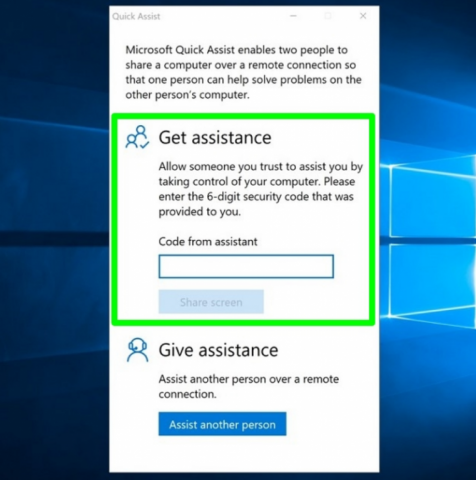 Windows 10 quick assist
