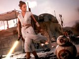 Rey Skywalker with yellow lightsaber in Star Wars Battlefront II video game on Xbox One