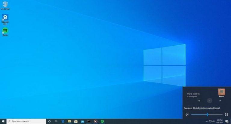 Windows 10 volume flyout media controls