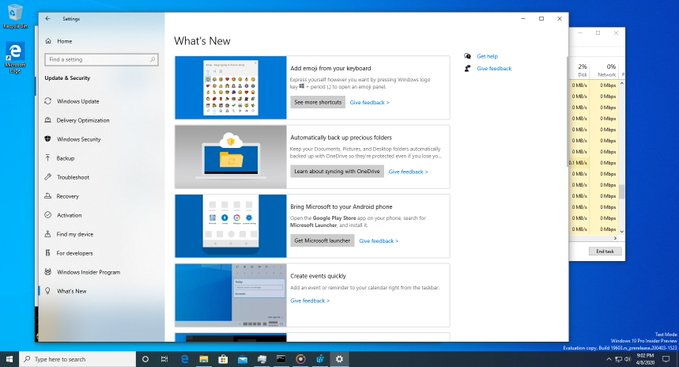 Windows 10 Whats New Section