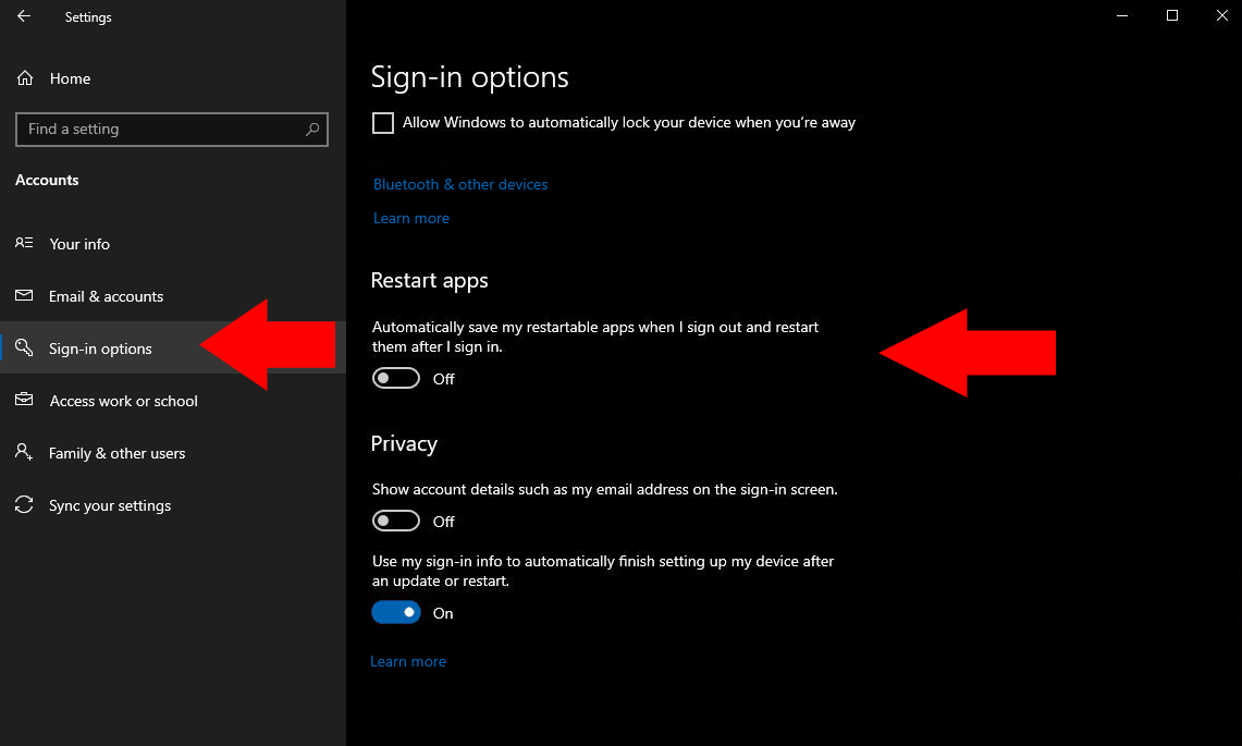 Stopping apps from restarting after shutdown in Windows 10