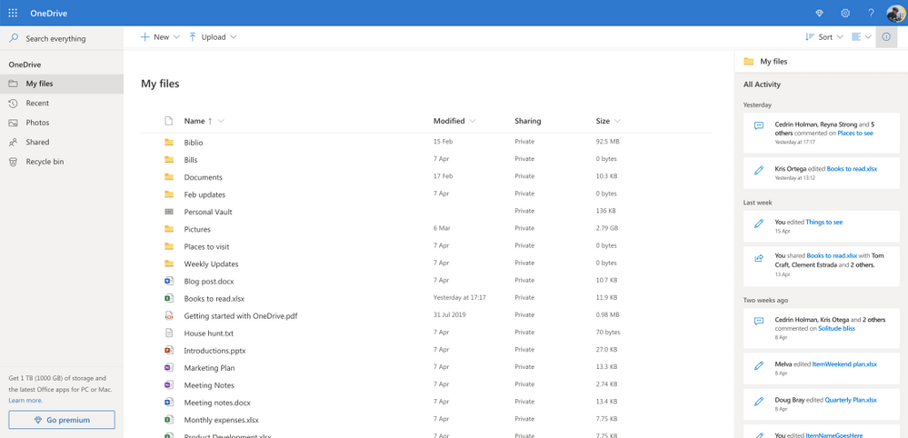 Onedrive gets new file detail pane with previews, actions, and new activity feed - onmsft. Com - may 29, 2020
