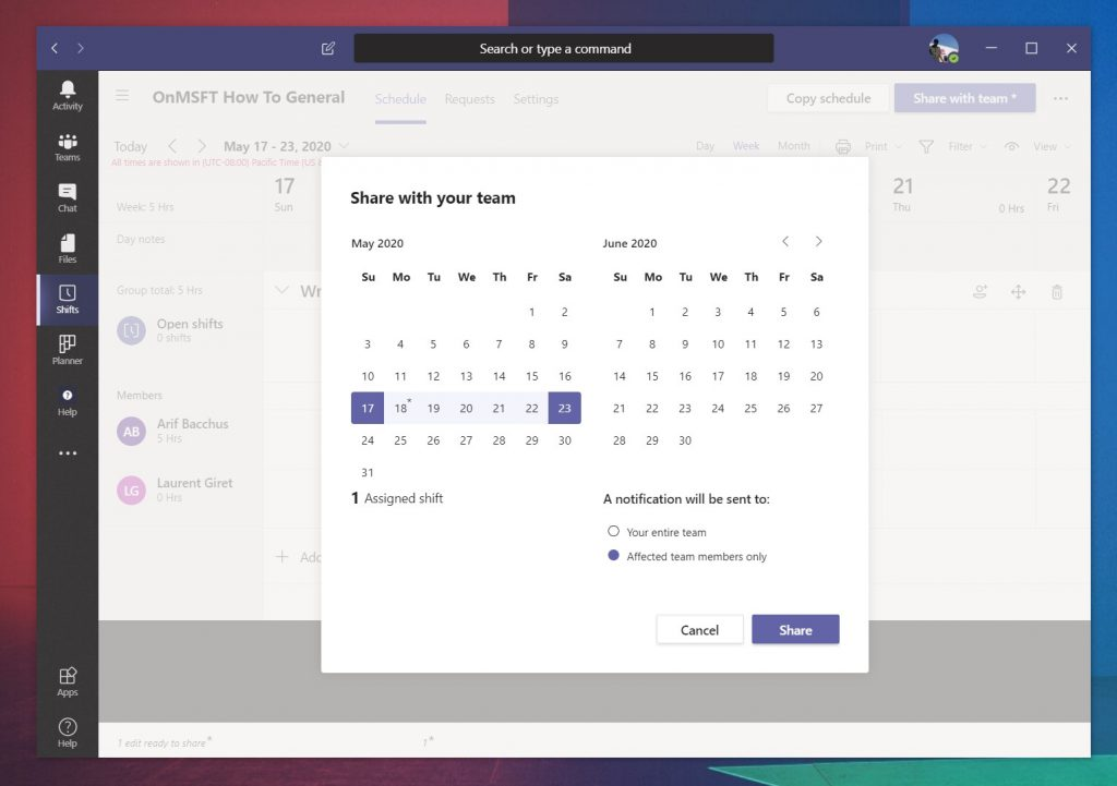 How to use shifts in microsoft teams to manage work hours, schedules, and more - onmsft. Com - may 11, 2020