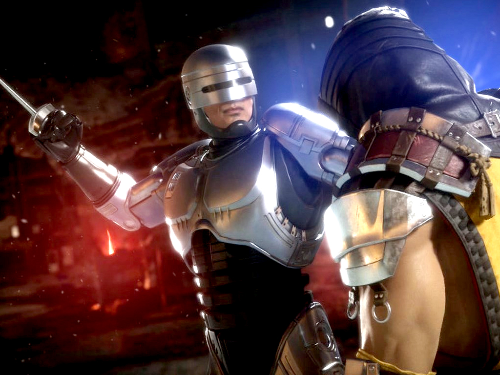 Robocop and Scorpion in Mortal Kombat 11 video game on Xbox One