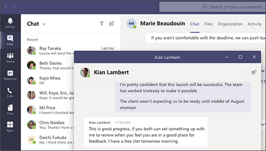Microsoft Teams pop out chat method 1