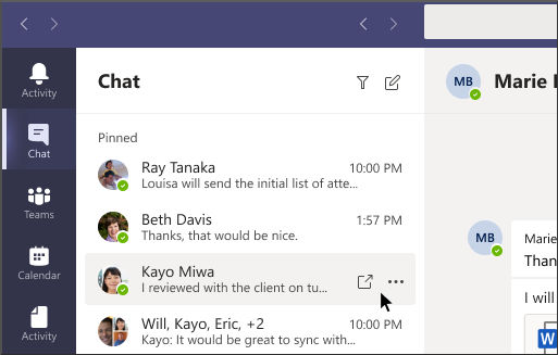 Microsoft Teams pop out chat method 2