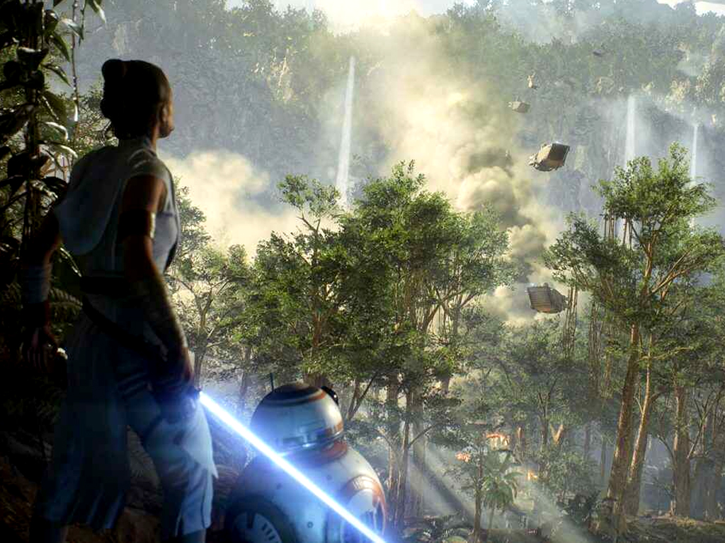 Rey and BB8 in Star Wars Battlefront II video game on Xbox One