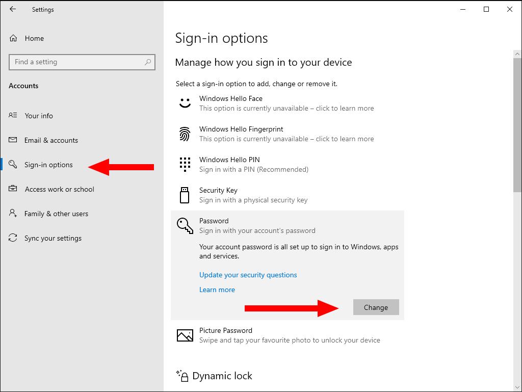 Screenshot of password settings in Windows 10