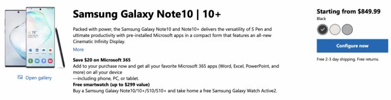 Samsung galaxy note10 series deal