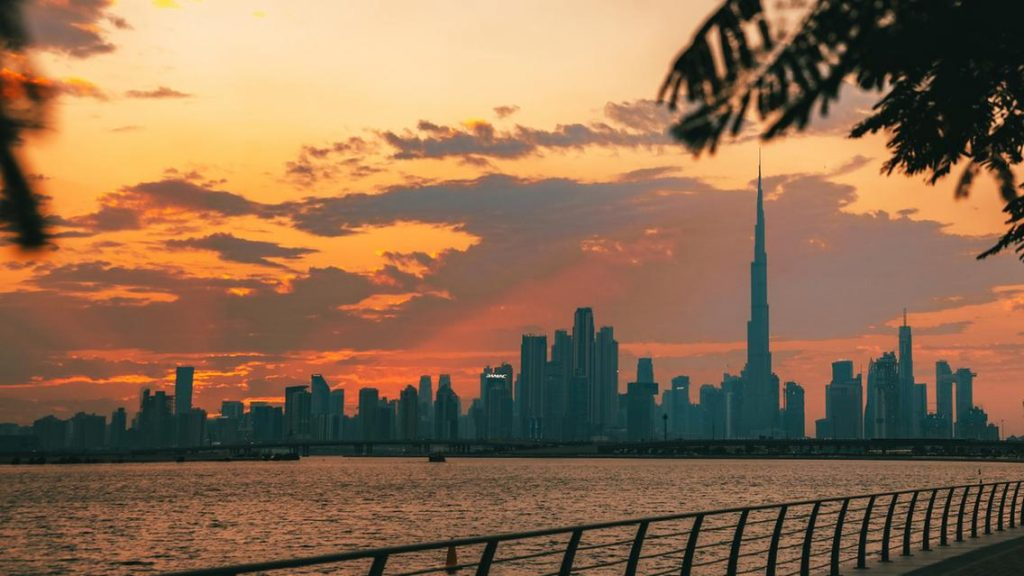 Sunset scenes with Burj Khalifa