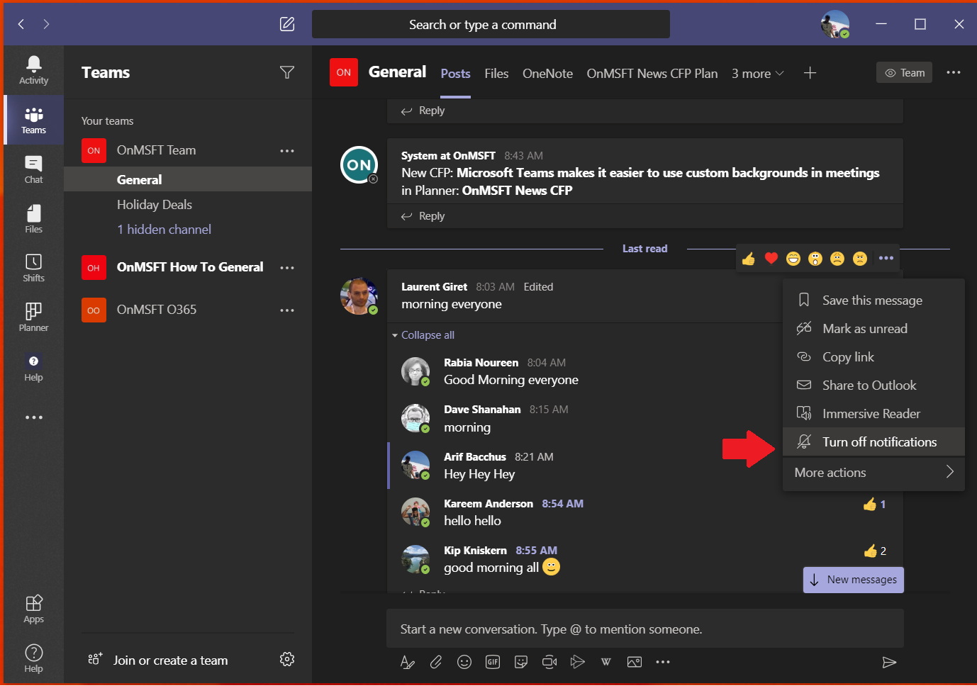 Manage notifications in microsoft teams