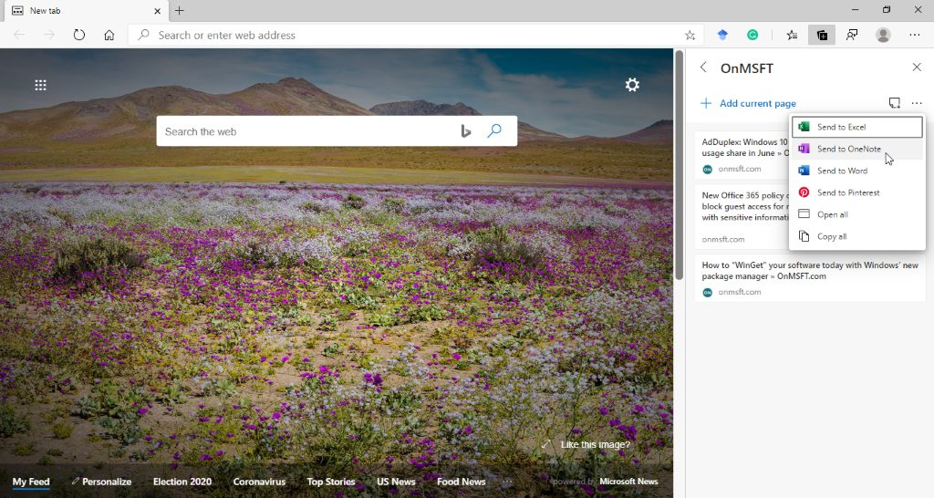 Microsoft Edge export Collections OneNote