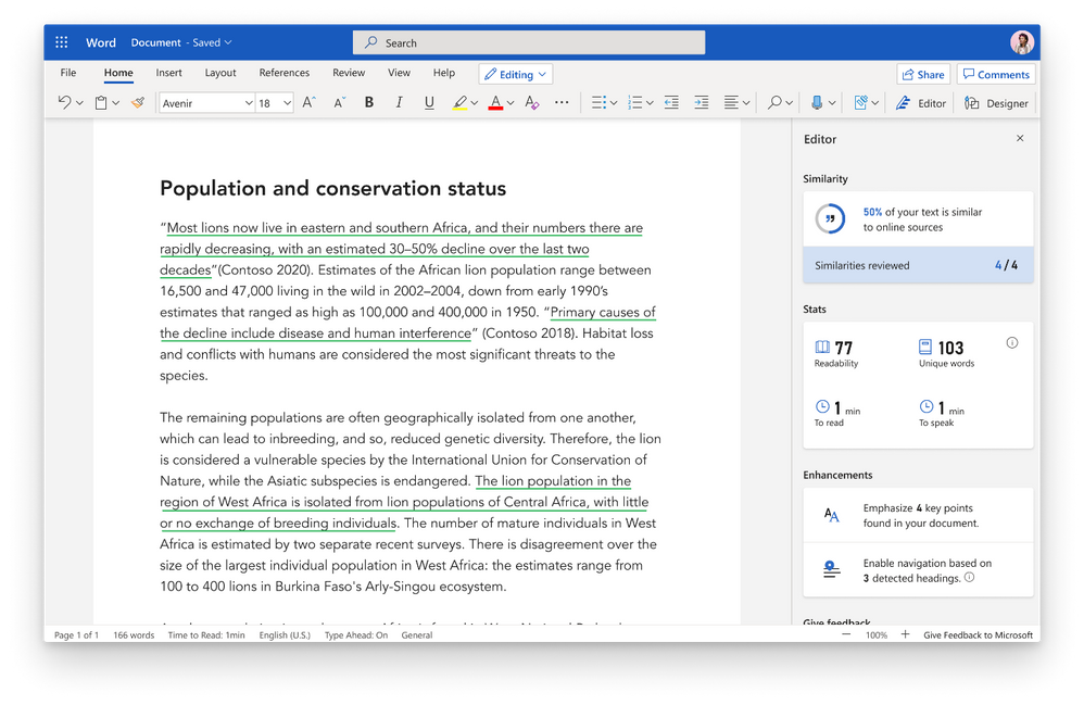 Microsoft Editor similarity checker tool