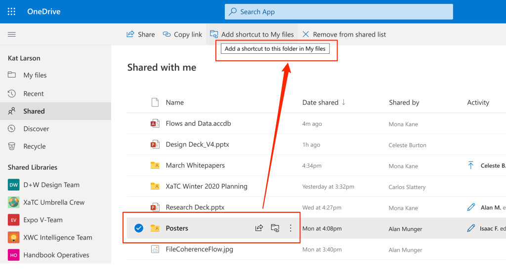 add OneDrive shortcuts shared folders